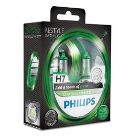 H7 Lamp Philips PHI 12972CVPBG2 H7 12V 55W ColorVision Green set 2 stuks